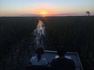 Sunset Everglades tour airboat in Everglades