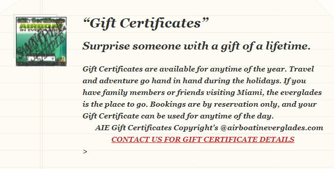 GIFT CERTIFICATE DESCRIPTION